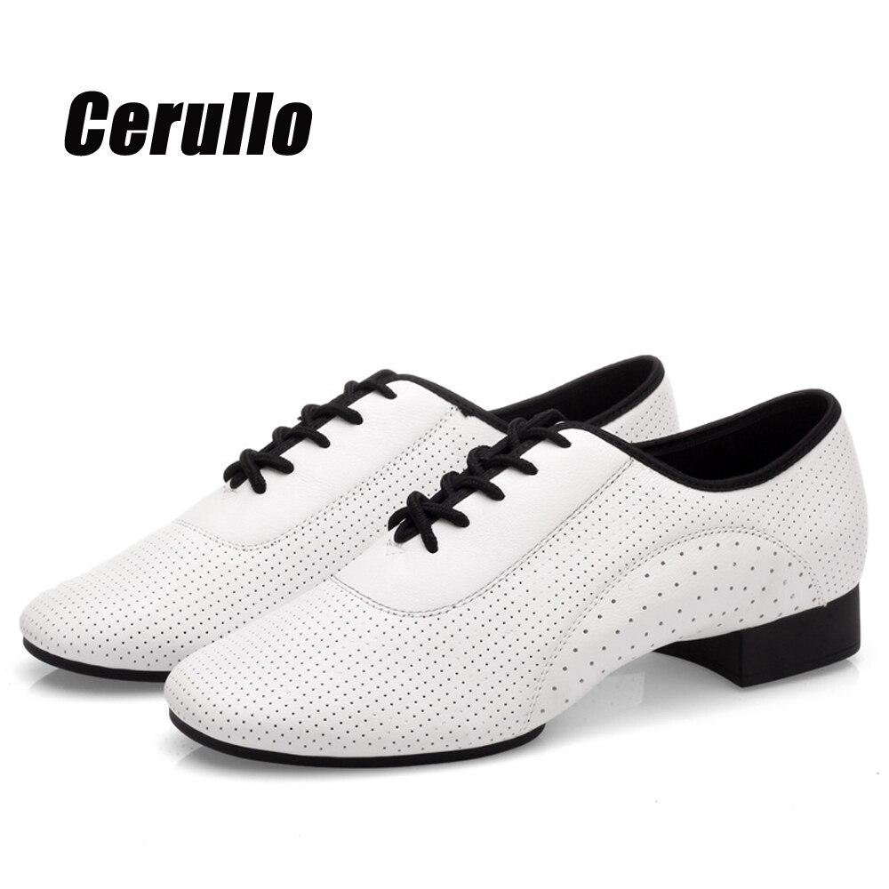 Мужские туфли из натуральной кожи для латиноамериканских танцев, обувь для вечерние, танго, современных танцев, дышащая танцевальная обувь ...