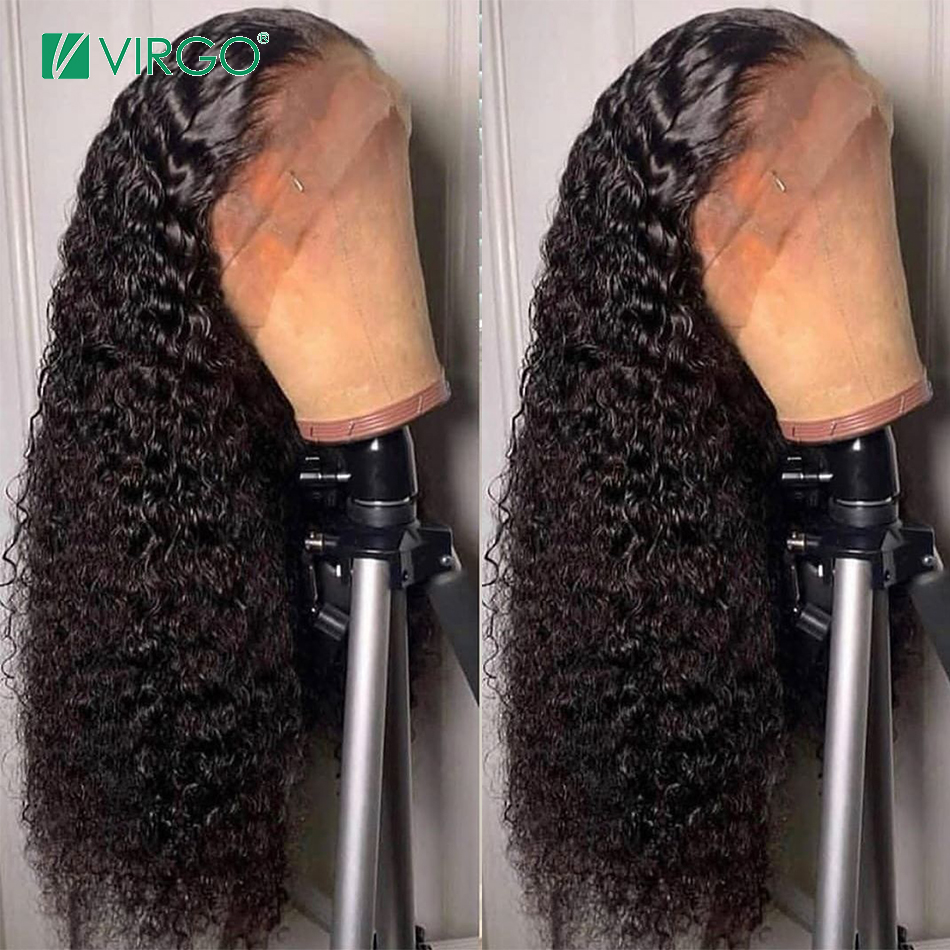 Virgo Jerry Curly Wig 360 Lace Frontal Wig Pre Plucked With Baby Hair Brazilian Human Hair Wigs For Black Women Remy 150%Density