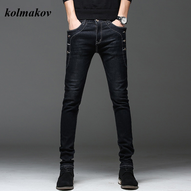 KOLMAKOV New Arrival Style Men Boutique Denim Jeans High Quality Fashion Casual Solid Slim Men's Pencil Pants Skinny Trousers
