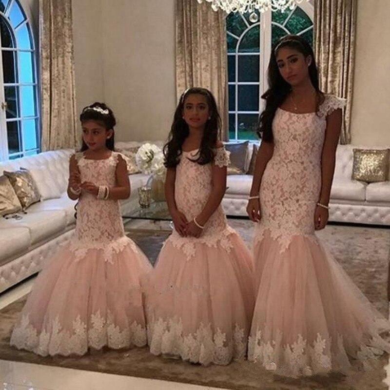Vestidos da Menina de Flor para o Casamento Rendas até o Chão Vestidos da Menina Popular Crianças Formal Usar Tule Sereia 2020 Bonito