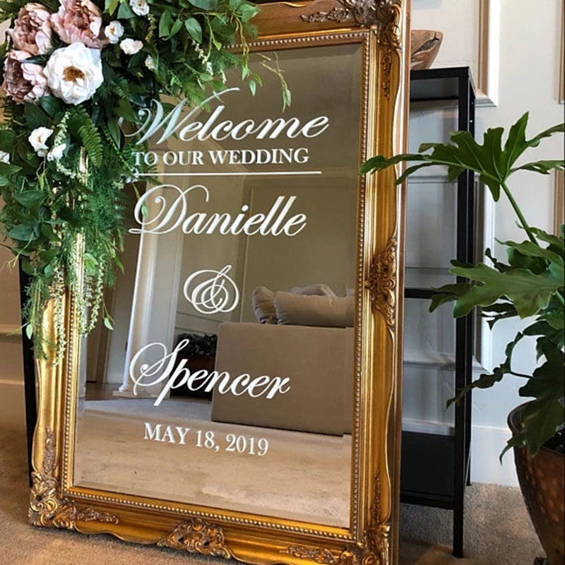 DIY Welcome Sign Mirror Welcome Sign Baby Shower Welcome Sign Vinyl Welcome Sign Vinyl Lettering Welcome to our Wedding Custom Welcome