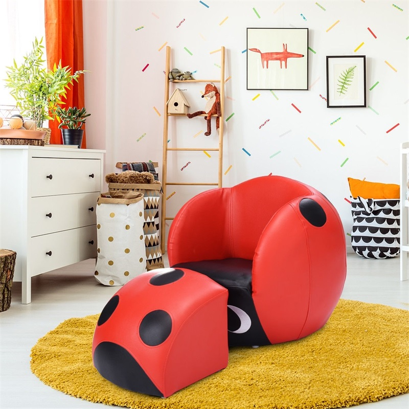 Insect Shaped Kids Sofa Children With Ottoman Sofa Cute Black Red Outdoor Indoor Sofas HW54196