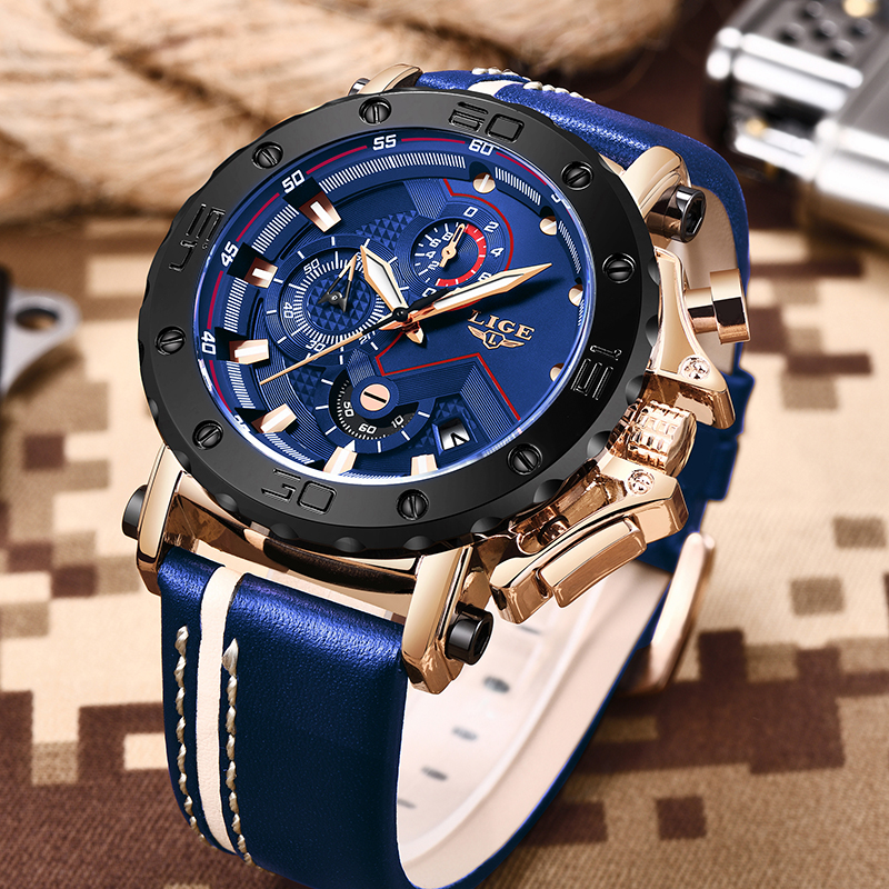 2019 New LIGE Mens Watches Top Brand Luxury Big Dial Military Quartz Watch Casual Leather Waterproof New LIGE Mens Watches Top Brand Luxury Big Dial Military Quartz Watch Casual Leather Waterproof Sport Chronograph Watch Men