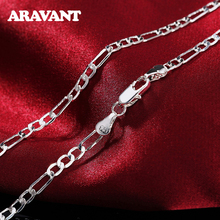 4MM Flat Sideway Chains Lobster Clasp Collares Necklaces 925 Silver Necklace For Men unisex necklaces 925 silver lobster clasp necklaces for women men fashion jewelry
