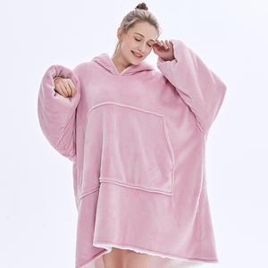 Fleece Blanket Hoodie Sleeves-Weighted Warm Winter Soft with Child And Adult Pocket