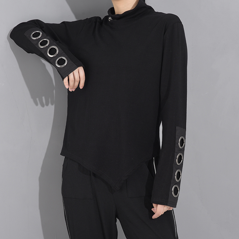 [EAM] Women Black Hollow Out Asymmetrical Split Joint T-shirt New Stand Collar Long Sleeve  Fashion Spring Autumn 2020 1M87401 2