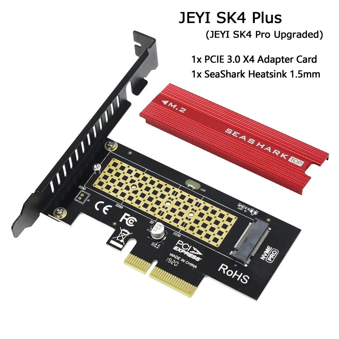 JEYI SK4 Plus M.2 NVMe SSD vers PCIE 3.0X4 adaptateur carte M clé pour 2230 2242 2260 2280 SSD PCI-e X8 X16 dissipateur thermique refroidissement SeaShark