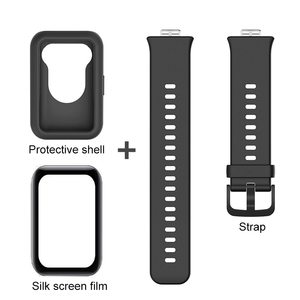Image 2 - 3in1 full cover protect shell for huawei watch fit strap+fiberglass soft silicone back coque for hauwei watchfit shockproof case