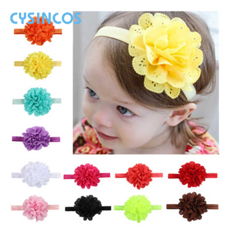 Baby Lace Flower Headband Infant Solid Elastic Headband Toddler Hair Accessory Headwear Newborn Head Band Girl Photography Props