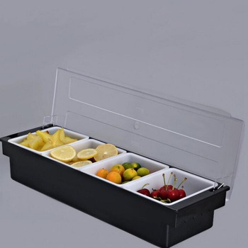 Bar counter cocktail decoration box Fruit box with three compartments, four compartments, six compartments, seasoning box