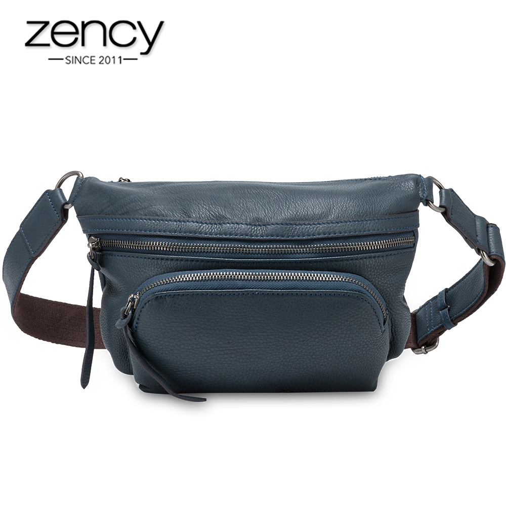 Zency 100% Genuine Leather Fashion Women's Chest Bag High Quality More Pockets Chest Bags Classic Brown Crossbody Messenger