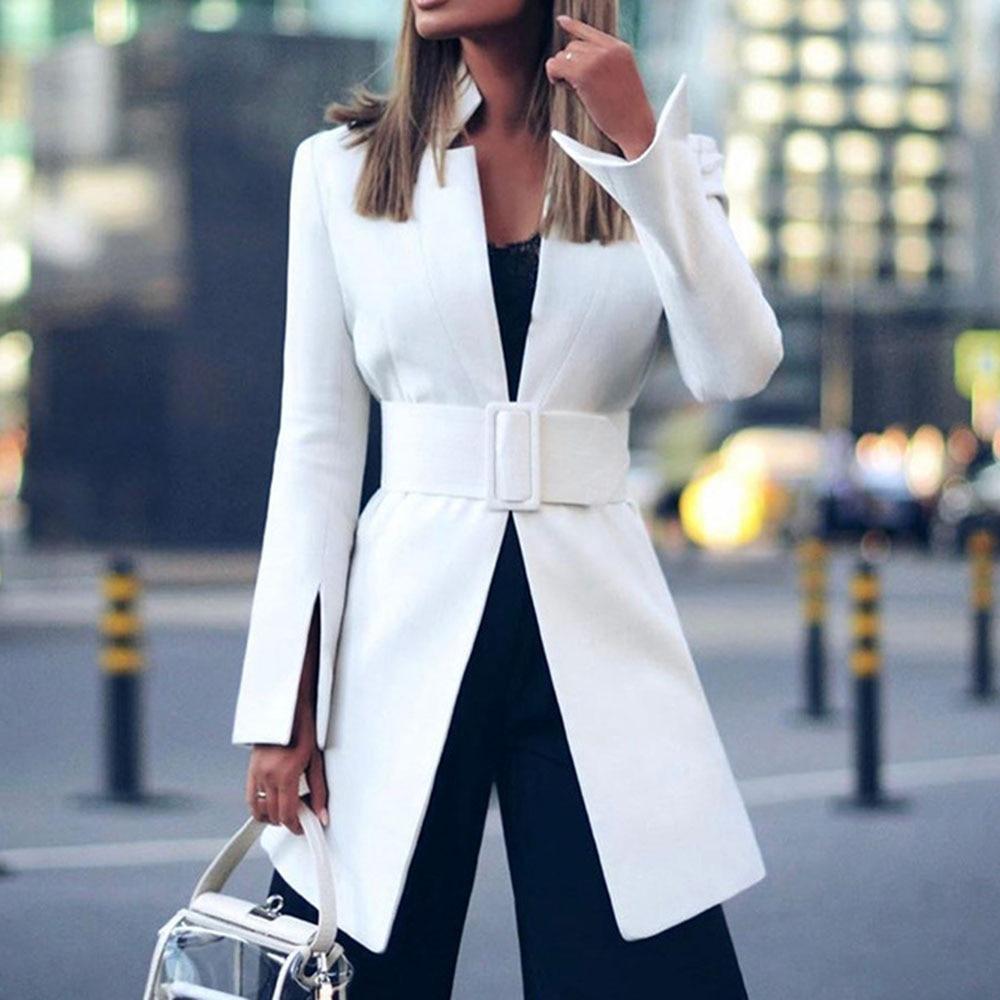 Sexy White Blazer Jacket Women Office Ladies Coat Work Outwear Business Orange Streetwear Fashion Belt 2020 Spring Blazers Coats