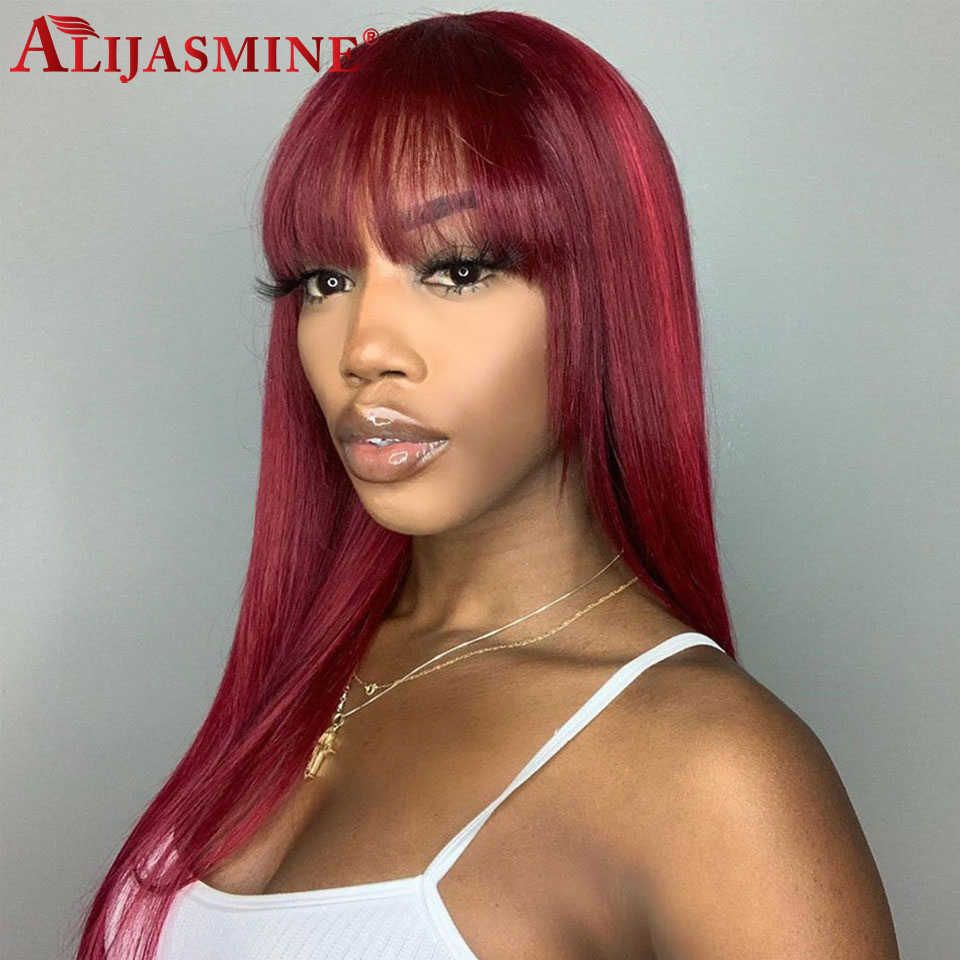 99J Ombre Pre Plucked 13x4 13X6 Lace Front Human Hair Wig With Bangs For Black Women With Baby Hair Brazilian Remy 99J Lace Wig