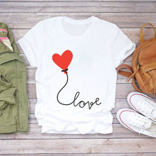 Women T-shirts Love Balloon Romance Printing Cute Summer Autumn 90s Print Lady Womens Stylish T Top Shirt Girl Tee T-Shirt