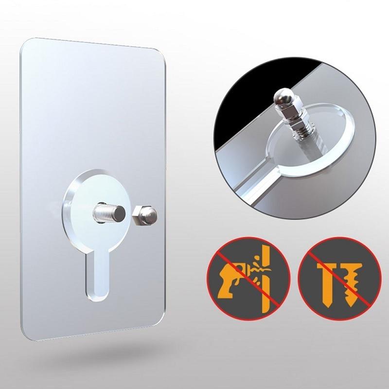 2pcs/bag Self Adhesive Wall Nails Non-trace Stick Wall Hook Transparent Strong Adhesive Screw Wall Nail Durable Practical