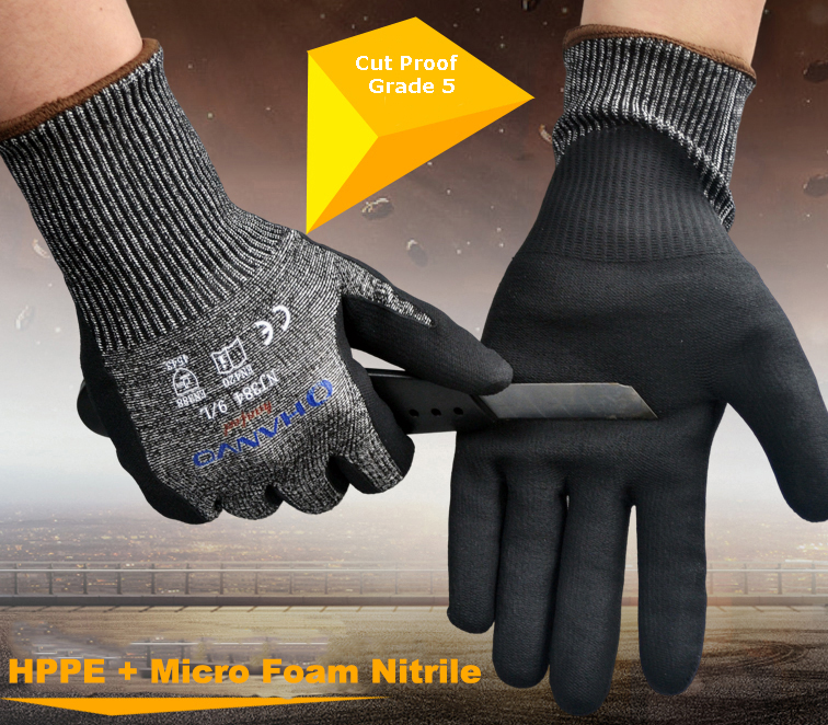 Hppe mancha aço micro espuma nitrilo maxi alta flex ce ansi a4 anti corte resistente à prova de vidro que segura o trabalho do açougueiro luvas
