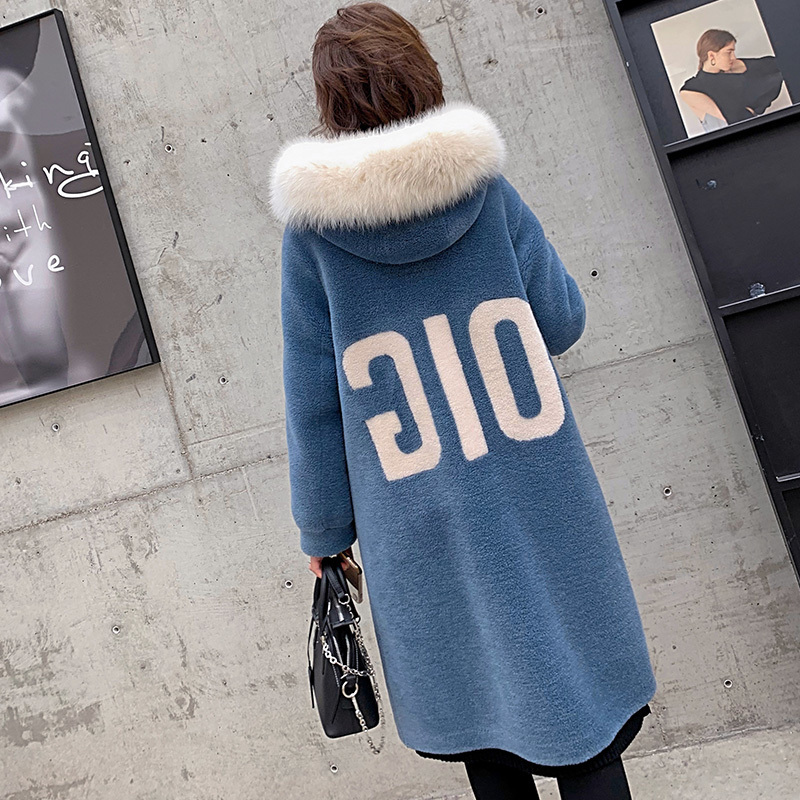 Coat Wool 100% Female Sheep Shearling Fur Coats Winter Jacket Women Fox Fur Collar Korean Long Jackets Chaqueta Mujer MY S S