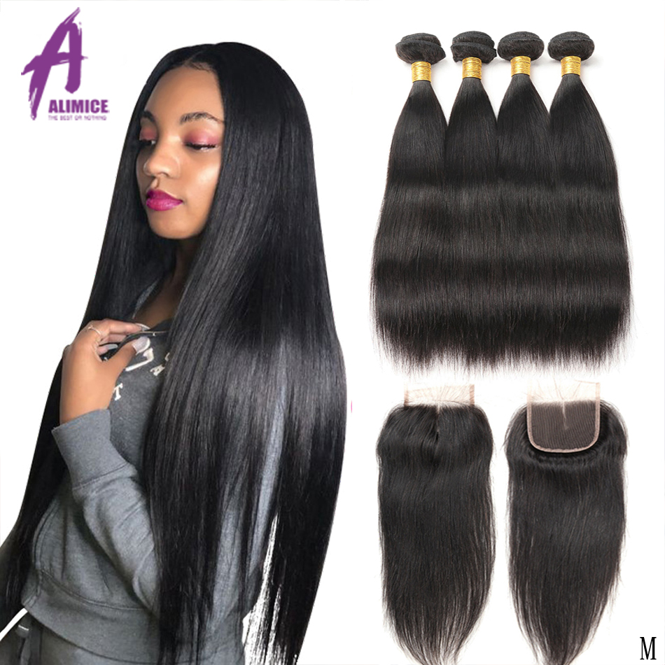 8-30 Inch Bundles With Closure Indian Straight Hair Bundles With Closure Alimice Long Human Hair Weave Bundles With Closure Remy
