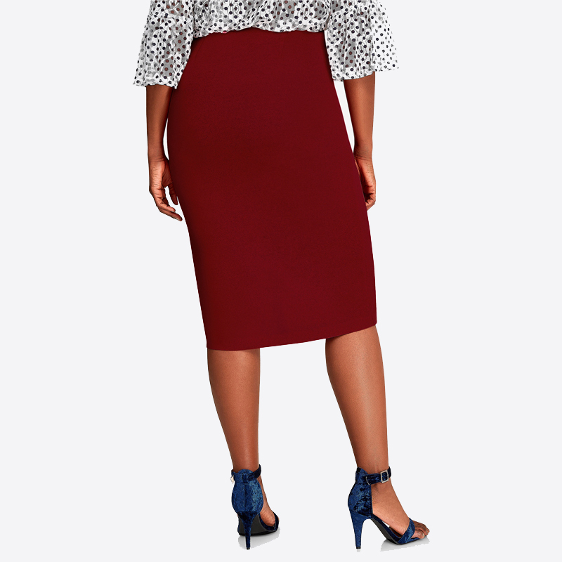 CACNCUT Big Size High Waist Bag Thigh Skirt Business Casual Skirt For Women 2019 Plus Size Bodycon Pencil Office Skirt Black 6XL 31