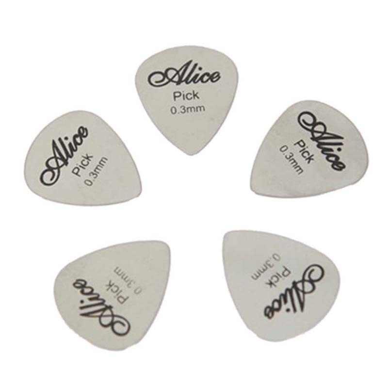 5Pcs/10Pcs Metal Guitar Pick 0.3mm Thin Durable Silver Color Professional Bass Ukelele Guitar Picks