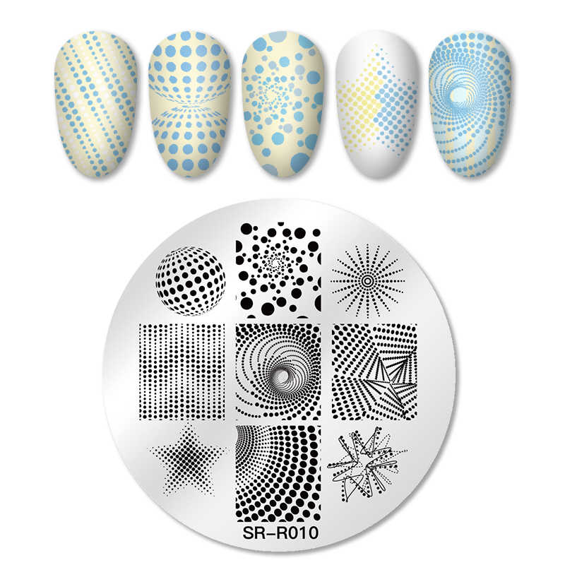Four Lily 1pc Nail Stamping Plates Round Stainless Steel Geometric Series Image Design Stamp Template DIY Nail Art Tools