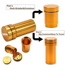 HONEYPUFF алюминиевый измельчитель с контейнером для хранения один в несколько комплектов металлический точильный станок для табачных трав и контейнер для хранения дыма аксессуары для трубки