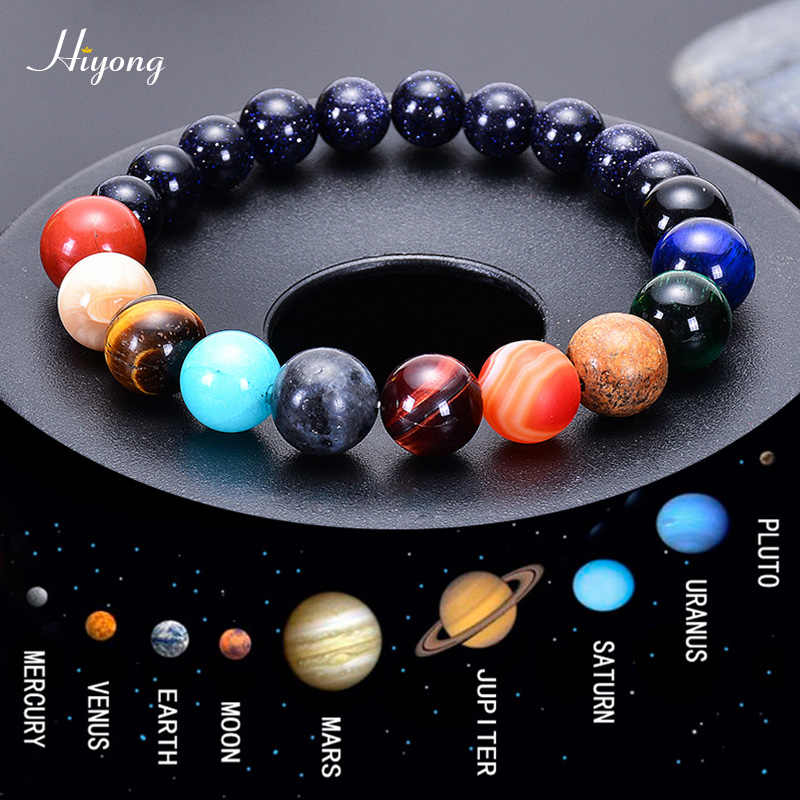 HIYONG Eight Planets Bead Bracelet for Men Women Natural Stone Beaded Bracelet Universe Galaxy Solar System Planets Bracelets