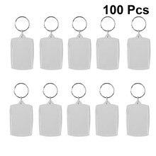 100 stücke DIY Split Ring Schlüssel Kette Rechteck Transparent Blank Acryl Legen Bilderrahmen Schlüsselring Geschenk