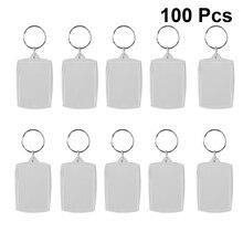 100pcs Photo Keychain Rectangle Transparent Blank Acrylic Insert Photo Picture Frame Keyring Key Holder DIY Split Ring Gift