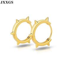 JXXGS 925 Sterling Silver Earrings Gear Shape Unique Hoop Luxury Women Jewelry 18K Gold Color For