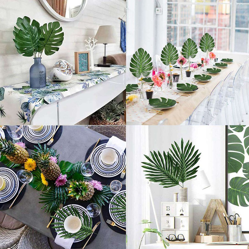 30 Pcs 2 Kinds Large Artificial Palm Leaves Faux Tropical Plant Leaves Monstera Leaves Leaves For Hawaiian Luau Party Jungle Bea