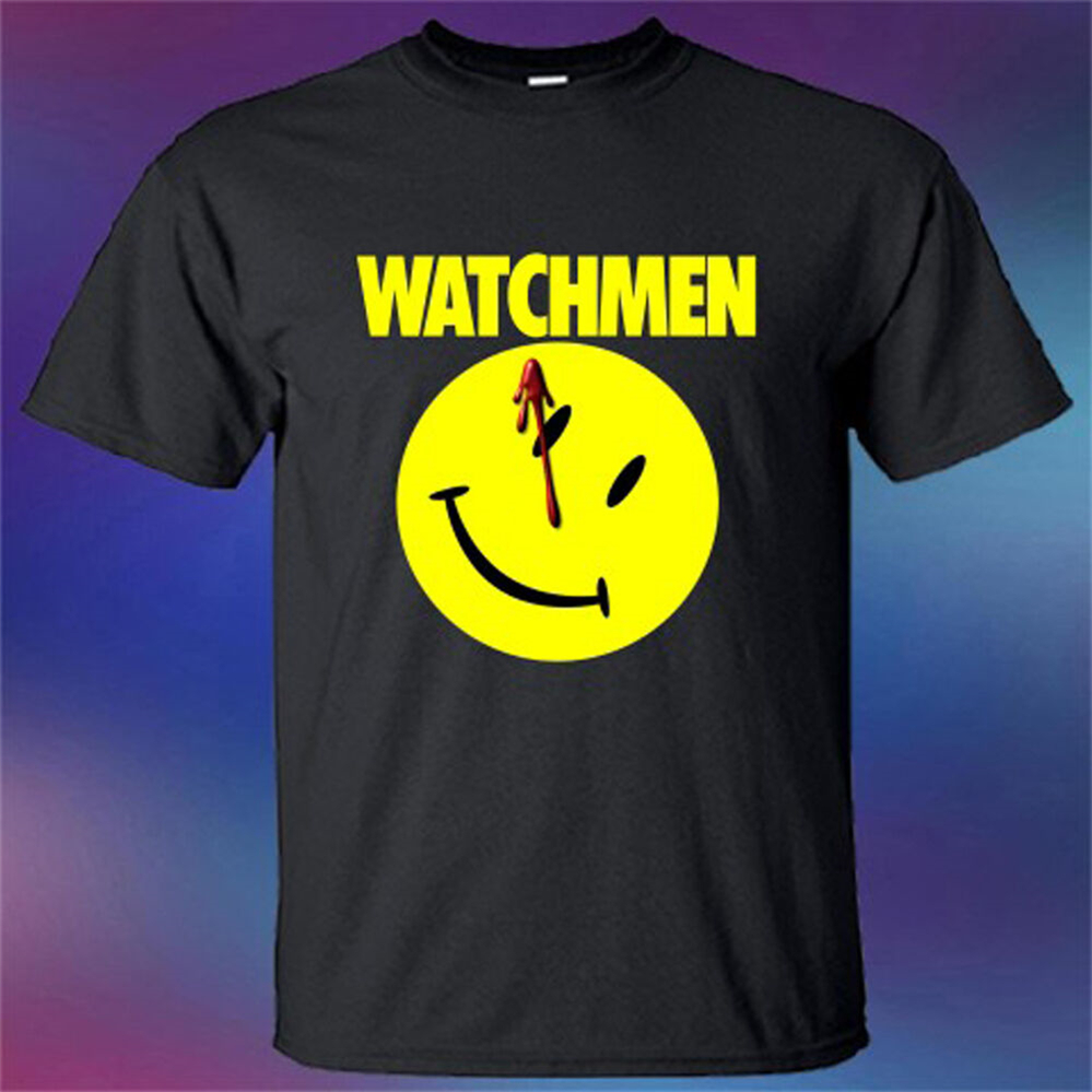 New Watchmen Superhero Movie The Comedian Logo Men'S Black T-Shirt Size S-3Xl Round Neck Tee Shirt image