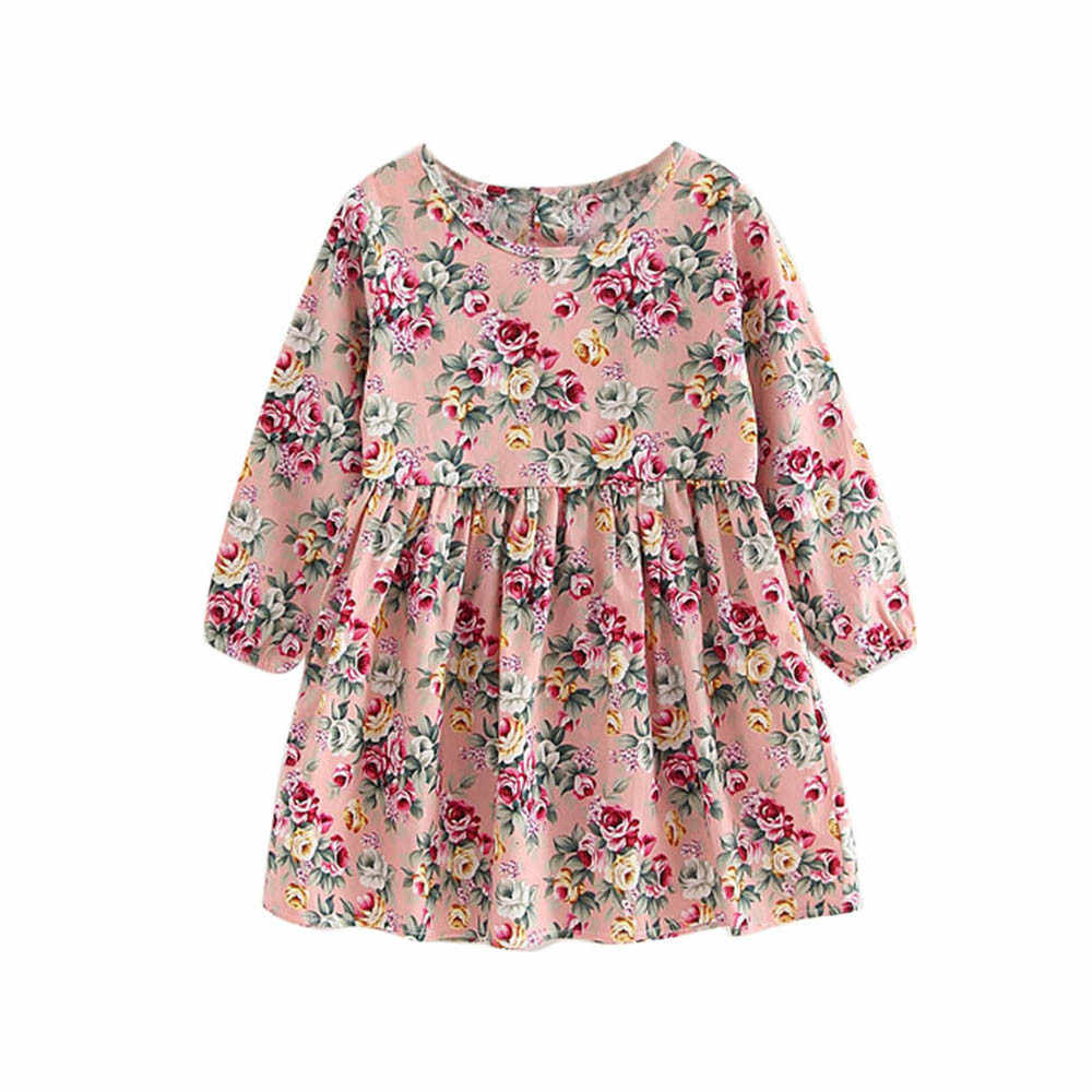 Vestido de princesa de cuello redondo lindo vestido de manga larga estampado de moda infantil para niñas