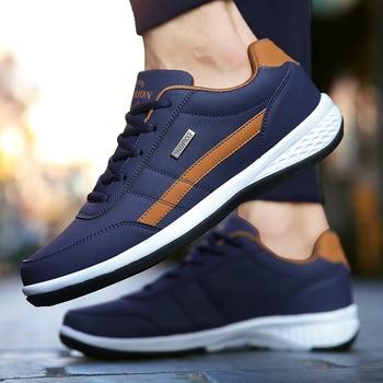 Leather Men Shoes Sneakers Trend Casual Shoe Italian Breathable Leisure Male Sneakers Non-slip Footwear Men Vulcanized Shoes 4