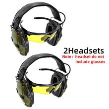 Tactical hunting headphone electronic shooting earmuffs anti-noise enhanced headset professional glasses earmuffs foldable advanced modular headset cover molle headband for general tactical earmuffs microphone hunting shooting headphone cover