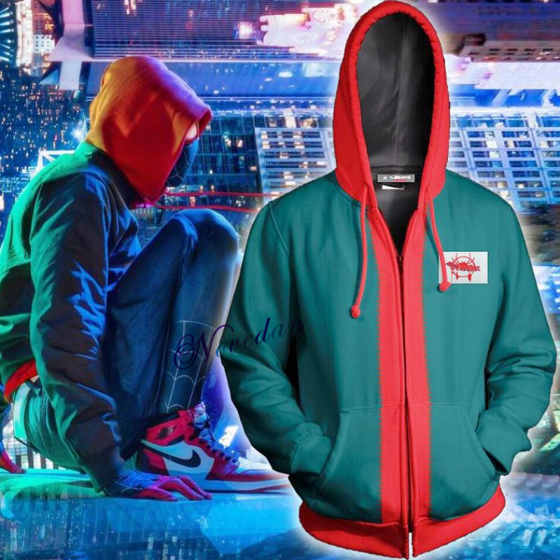 New Miles Morales Spiderman Costume Adult Kids Boys 3D Print Spider Man Cosplay Hoodie Sweatshirt Zipper Jacket Superhero Suit