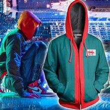 New Miles Morales Spiderman Costume Adult Kids Boys 3D Print Spider Man Cosplay Hoodie Sweatshirt Zipper Jacket Superhero Suit