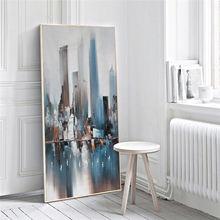 Картина маслом на холсте абстрактная живопись по городам синие