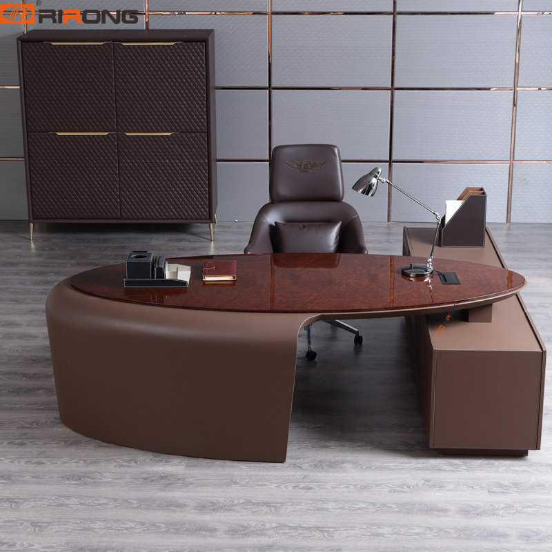 Italy Style Antique Luxury Home Study Office Executive Manager Boss Ceo Leather Customzied Office Table Desk With Cabinet