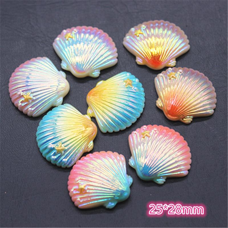 10pcs 25*28mm Shiny Magic Color New Resin Seashell Flat Back Cabochon DIY Phone/Craft Home Decoration Accessories