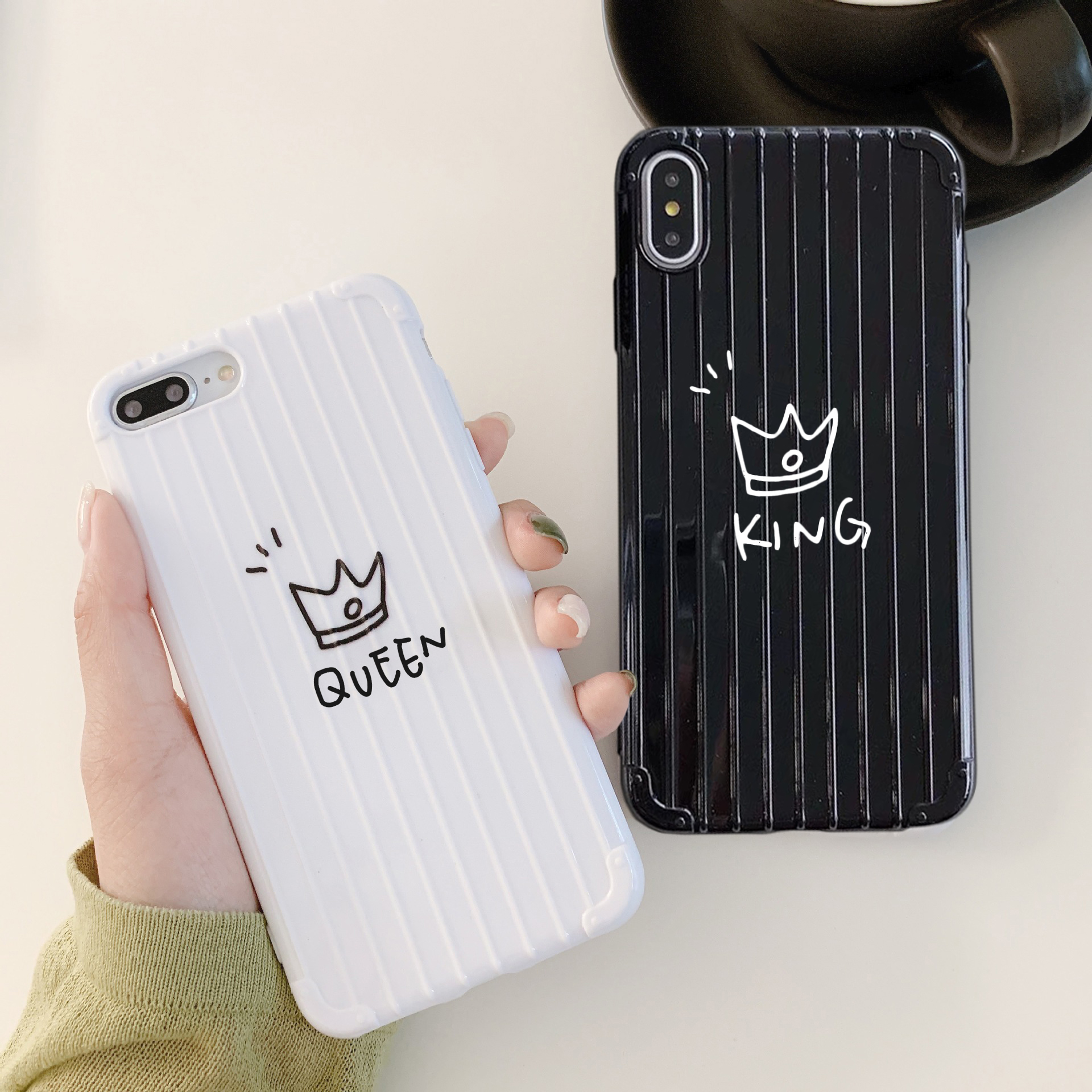 Cute King Queen Couple Soft Case For Apple Iphone 7 8 X 6 S 6s Plus Case Cover For Coque Funda Iphone Xs Max Xr 8plus 7plus Case Fitted Cases Aliexpress