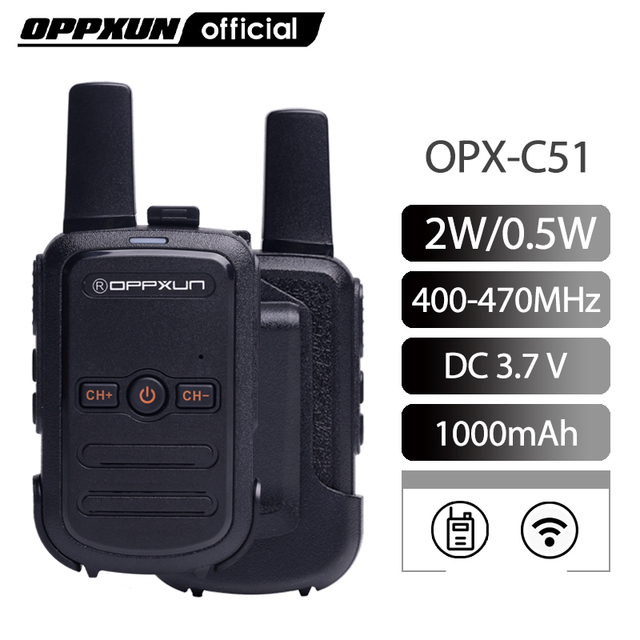 2pcs OPPXUN C51 MINI Walkie Talkie Portable Ham Radio Station Telsiz Headset Transceiver Children Long Range cb Radio Telefon CD 1