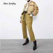 Star firefly Lantern Sleeve Cotton Large Size Loose Short Coat Female 2019 Casual Satin Zipper Pocket Bomber Jacket Women