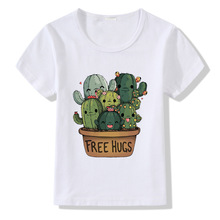 Kids Tshirt Cute Cactus Free Hugs Design T Shirt Children Boys Girls Short Sleeve Summer Tops Modal White T-shirts Unisex Tees 1 12y unisex kids t shirt masters of the universe he man tshirt for children fashion t shirt boys girls clothes summer tops tees