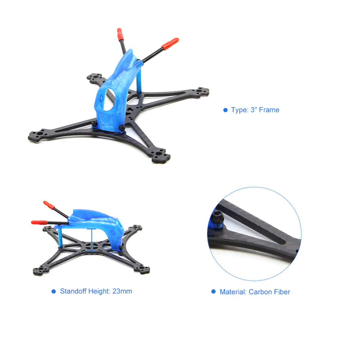 Image 5 - HGLRC Toothpick Parrot132 Carbon Fiber Frame Kit with 3D Print TPU Canopy for RC Quadcopter FPV Racing DroneParts & Accessories   -
