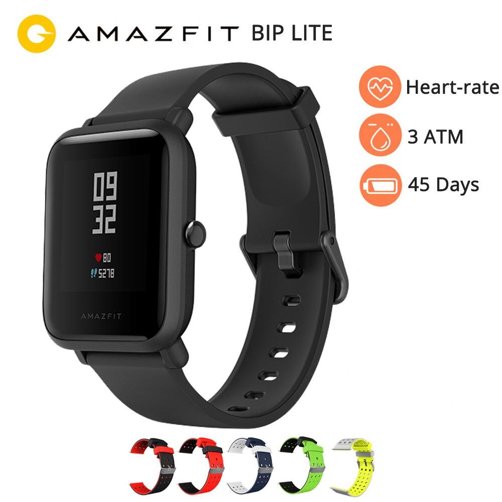 Amazfit bip lite relógio inteligente versão inglês huami amazfit bip lite relógio masculino 45 dias de vida da bateria 3atm à prova dwaterproof água relógio