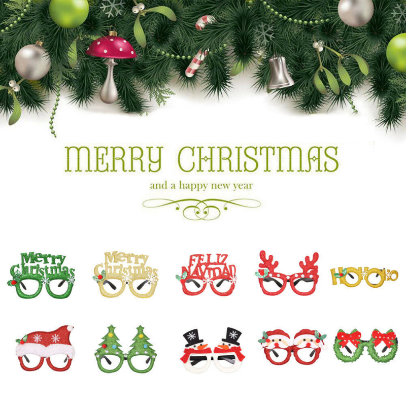 Xmas Decorations Adult Children Party Toys Santa Snowman Xmas Christmas Reindeer Glasses Frame Decoration For Chiristmas Gift