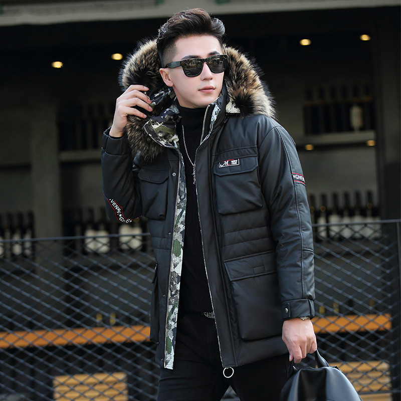 Genuine Cow Leather Jacket Winter Down Jacket Racoon Fur Collar Long Coat Men Cowhide Leather Jacket ML-GF18122 KJ1185