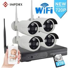 IMPORX 1MP 720 1080P CCTV システム 4ch ワイヤレス Nvr キット 2 テラバイト HDD 屋外 Ir ナイトビジョン IP Wifi カメラセキュリティシステム監視セット