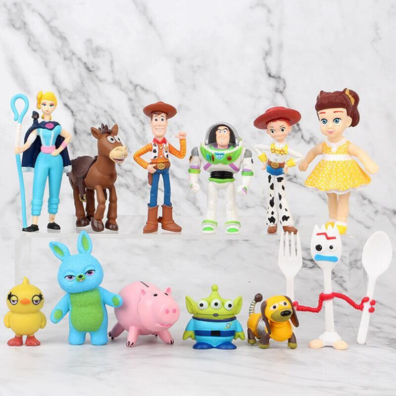 Toy Storys 4 Action Figure Toy PVC Forky Woody Bunny Duck Buzz Lightyear Dolls Children Gift